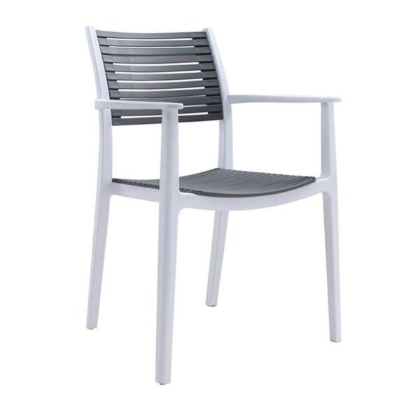 AKRON Πολυθρόνα PP-UV Άσπρο / Γκρι