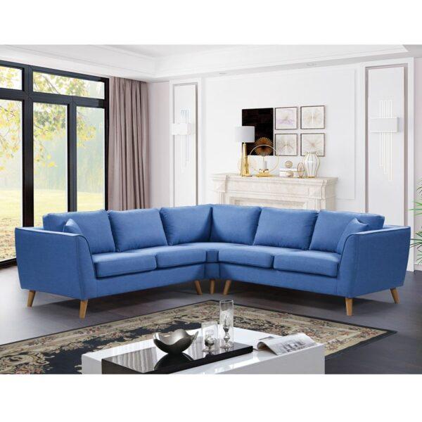 ATLANTIC Καναπές Σαλονιού - Καθιστικού Γωνία / Ύφασμα Μπλε