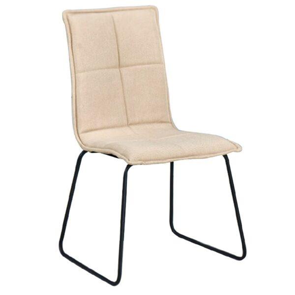 COOPER Καρέκλα Μέταλλο Βαφή Μαύρο / Ύφασμα Μπεζ