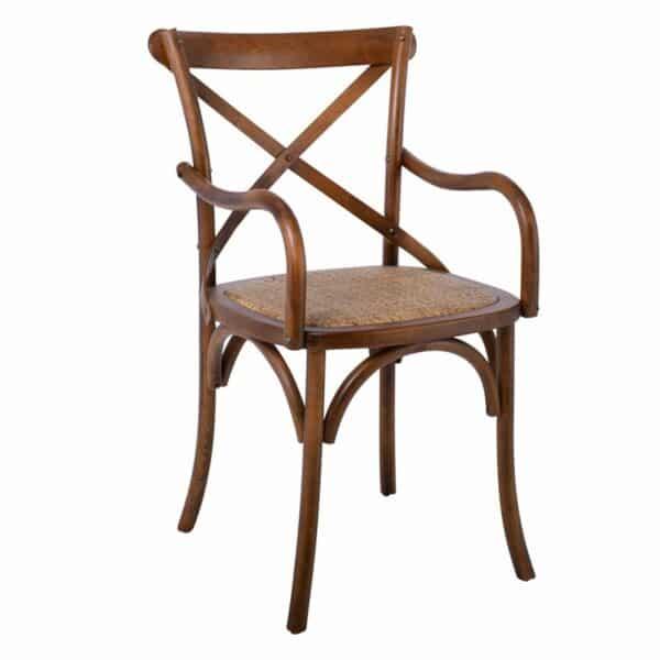 DESTINY Πολυθρόνα Οξυά Καρυδί / Κάθισμα Ψάθα