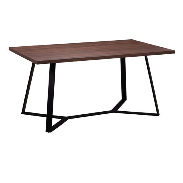 HANSON Τραπέζι Κουζίνας - Τραπεζαρίας Μέταλλο Βαφή Μαύρο / Σκούρο Καρυδί