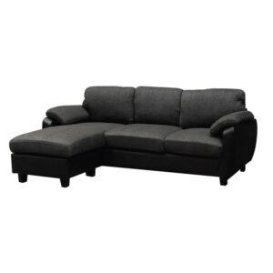JOLLY Καναπές Σαλονιού - Καθιστικού Γωνία Αναστρέψιμη / Ύφασμα Ανθρακί - PVC Μαύρο