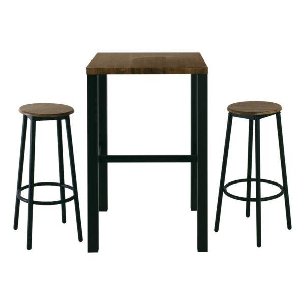 MAYER Set Bar Τραπέζι + 2 Σκαμπώ Μέταλλο Βαφή Ανθρακί / Antique Brown