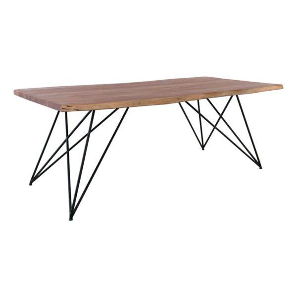 NAGAR Τραπέζι Τραπεζαρίας / Μέταλλο Μαύρο - Ξύλο Ακακία Φυσικό