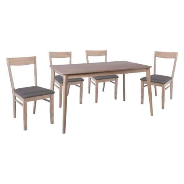 RINGO Set Τραπεζαρία Σαλονιού Κουζίνας: Τραπέζι + 4 Καρέκλες Smoke Beech - Ύφασμα Γκρι