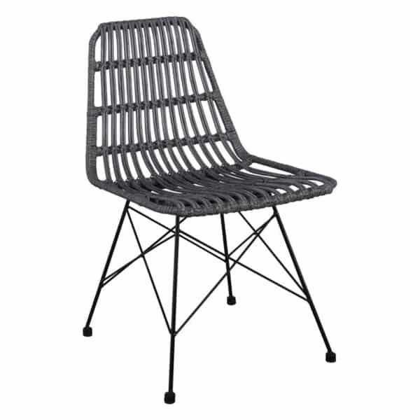 SALSA Καρέκλα Μεταλλική Μαύρη/Wicker Γκρι