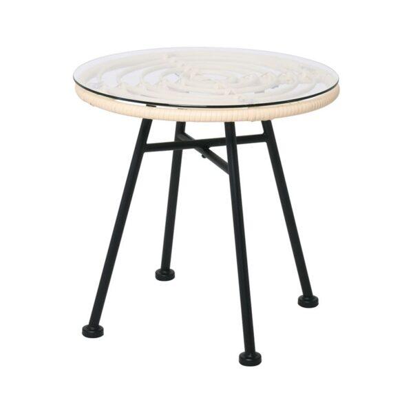 SALSA Τραπέζι Μεταλλικό Μαύρο/Wicker Ivory