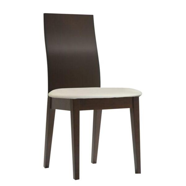 SAVINA Καρέκλα Οξυά Σκούρο Καρυδί / PVC Εκρού