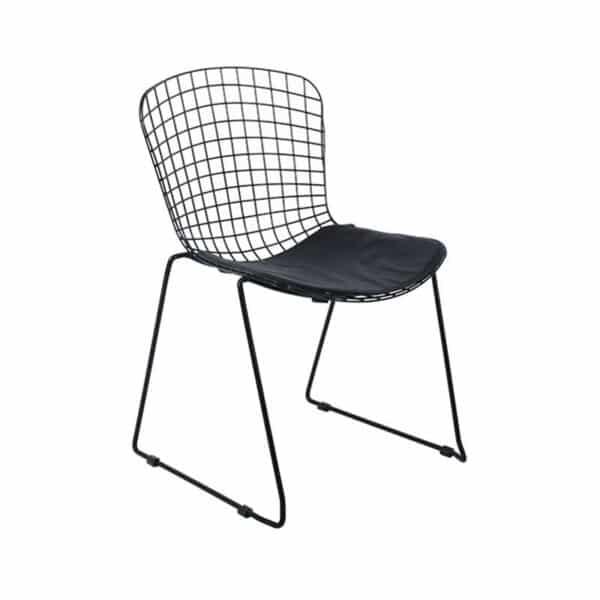 SAXON Καρέκλα Στοιβαζόμενη Μεταλλική Μαύρη/Μαξιλάρι Μαύρο