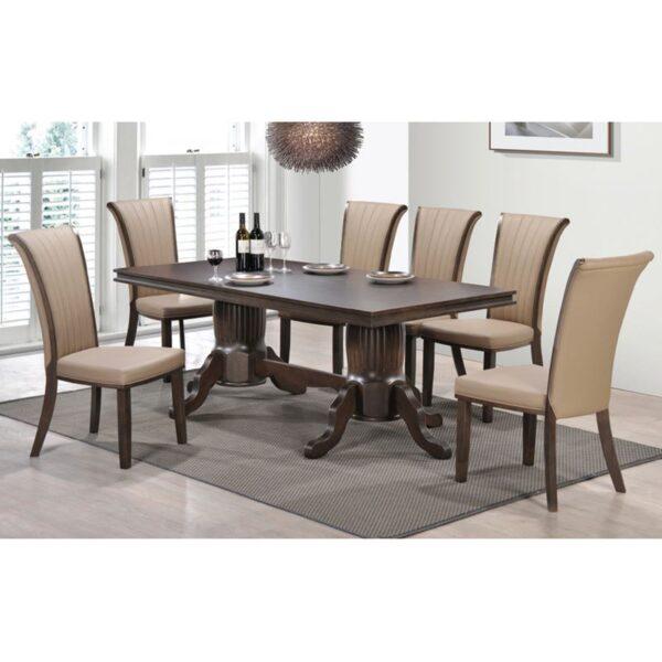 SUMMER Set Τραπεζαρία Ξύλινη Σαλονιού : Τραπέζι + 8 Καρέκλες / Καρυδί - PVC Μπεζ