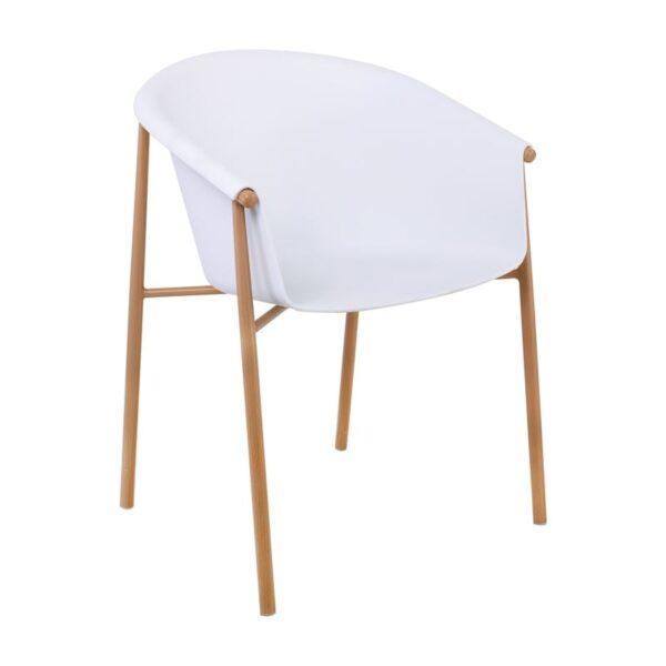 TYLER Πολυθρόνα Μεταλλική Φυσικό/PP-UV Άσπρο