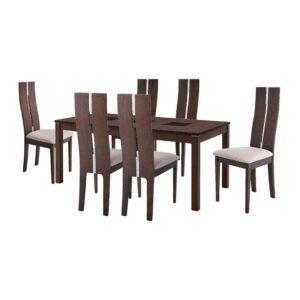 STILLO Set Τραπεζαρία Σαλονιού Κουζίνας Τραπέζι + 6 Καρέκλες Καρυδί Burn Beech -Ύφασμα Μπεζ