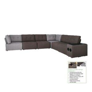 ALCO Καναπές Πολυμορφικός : 4 Καρέκλες + 2 Γωνίες + Σύστημα Ψυχαγωγίας - Ύφασμα Γκρι Καφέ