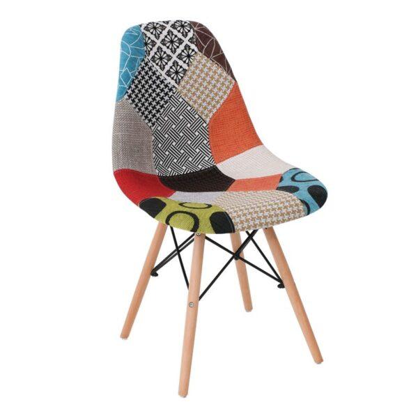 ART Wood Kαρέκλα Ξύλο - PP Ύφασμα Patchwork