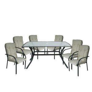 ASTOR Set Τραπεζαρία Κήπου : Τραπέζι + 6 Πολυθρόνες Steel Ανθρακί- Γυαλί - Μαξιλάρι Μπεζ
