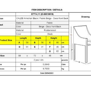 CALEB Πολυθρόνα Tραπεζαρίας Μαύρη - Ύφασμα Μπεζ Deco Μπροστά