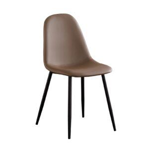 CELINA Καρέκλα Μέταλλο Βαφή Μαύρο - Pvc Καφέ