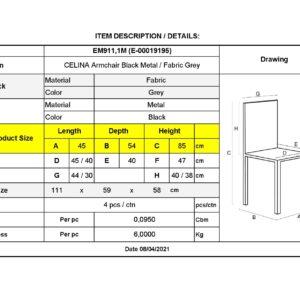 CELINA Πολυθρόνα Μέταλλο Βαφή Μαύρο, Ύφασμα Γκρι