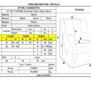 CROMA Πολυθρόνα - Μπερζέρα Σαλονιού - Καθιστικού, Ύφασμα Γκρι Velure