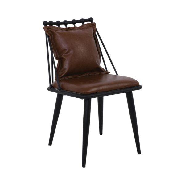 DANTE Καρέκλα Μέταλλο Βαφή Μαύρο - PU Vintage Brown