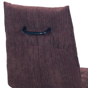 EXPO Καρέκλα Τραπεζαρίας Μέταλλο Βαφή Μαύρο, Ύφασμα Σκούρο Καφέ