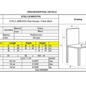 JAMESON Καρέκλα Τραπεζαρίας Σαλονιού Decape - Ύφασμα Μαύρο