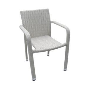 LANA Πολυθρόνα Dining Αλουμίνιο - Wicker Ice White