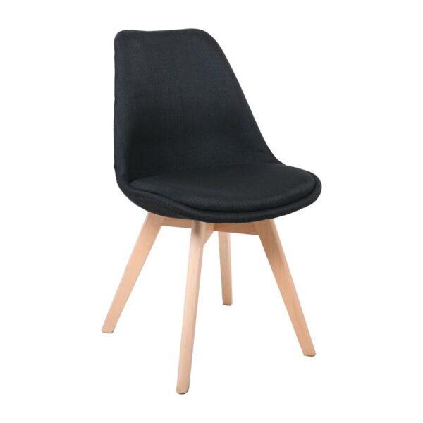 MARTIN Καρέκλα Ξύλο - Ύφασμα Μαύρο Μονταρισμένη Ταπετσαρία
