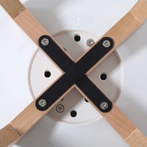 MARTIN Kαρέκλα Τραπεζαρίας Κουζίνας Metal Cross Ξύλο - PP Άσπρο - Αμοντάριστη Ταπετσαρία