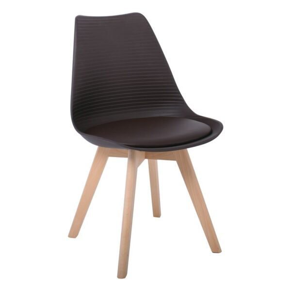 MARTIN STRIPE Καρέκλα Ξύλινο Πόδι - PP Καφέ