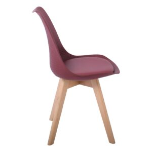 MARTIN STRIPE Καρέκλα Ξύλινο Πόδι, PP Μπορντώ