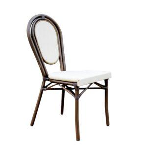 MONACO Καρέκλα Dining Αλουμίνιο Καφέ/Textilene Εκρού
