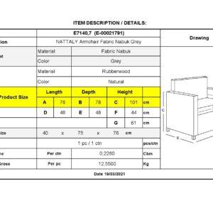 NATTALY Πολυθρόνα - Μπερζέρα K/D, Ύφασμα Nabuk Γκρι
