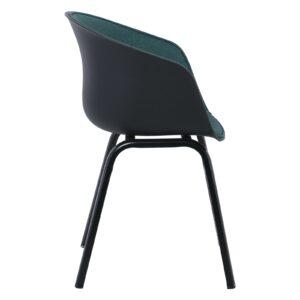 OPTIM Πολυθρόνα Μέταλλο Βαφή Μαύρο, PP Μαύρο Ύφασμα Πράσινο