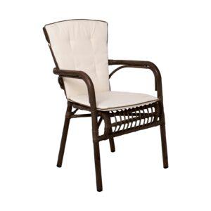 PANTHEON Πολυθρόνα Αλουμινίου Βαφή Wicker Καφέ - Μαξιλάρι Μπεζ