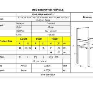 PANTHEON Πολυθρόνα Αλουμινίου Wicker Φυσικό - Μαξιλάρι Μπεζ