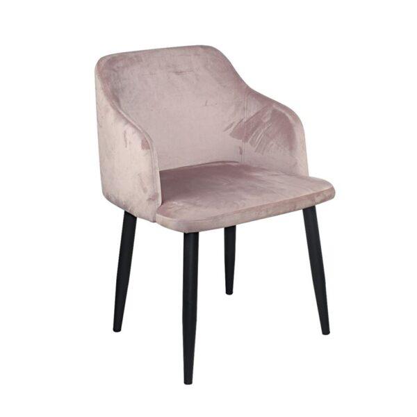 RAP Πολυθρόνα Μέταλλο Βαφή Μαύρο / Ύφασμα Velure Dirty Pink