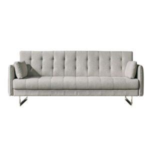 RUDY Καναπές - Κρεβάτι Σαλονιού - Καθιστικού 3Θέσιος Ύφασμα Γκρι - Μπεζ