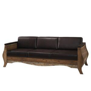 SCARLET Καναπές Σαλονιού Καθιστικού 3Θέσιος - Απόχρωση Antique Oak - Pu Σκούρο Καφέ
