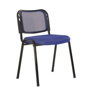 SIGMA Στοιβαζόμενη Καρέκλα Μέταλλο Βαφή Μαύρο - Mesh Μπλε