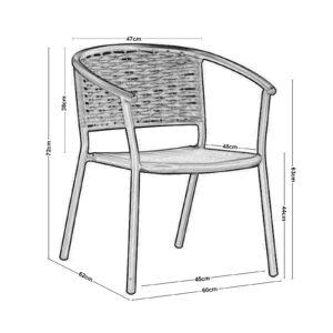 SILVA Πολυθρόνα Αλουμίνιο Ανθρακί  - Wicker Ανθρακί