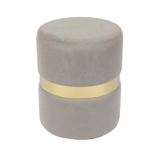 TOMMY Σκαμπώ Βοηθητικό Μέταλλο Βαφή Χρυσό - Ύφασμα Γκρι Velure