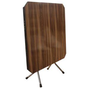 TOPAL Τραπέζι Πτυσσόμενο Μέταλλο Βαφή Γκρι, Επιφάνεια Wood Deco
