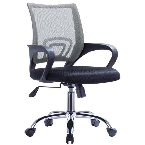 BF2101-F Πολυθρόνα Γραφείου με Ανάκλιση - Χρώμιο Mesh Γκρι - Μαύρο