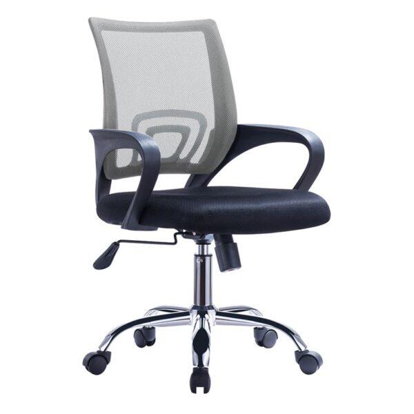 BF2101-F Πολυθρόνα Γραφείου με Ανάκλιση - Χρώμιο Mesh Γκρι - Μαύρο ( Συσκ.2 )