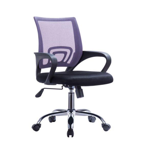 BF2101-F Πολυθρόνα Γραφείου με Ανάκλιση - Χρώμιο Mesh Μωβ - Μαύρο