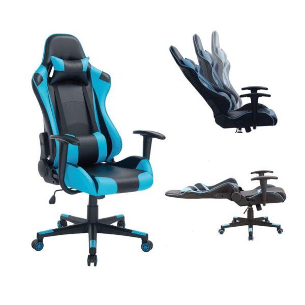 BF8000 Gaming Πολυθρόνα Γραφείου Διευθυντή Pvc Μαύρο - Μπλε