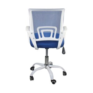 BF2101-SW Πολυθρόνα Γραφείου με Ανάκλιση Άσπρο - Mesh Μπλε