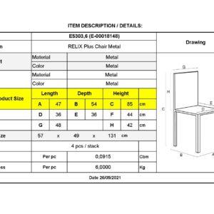 RELIX Plus Καρέκλα Μέταλλο Βαφή Metal