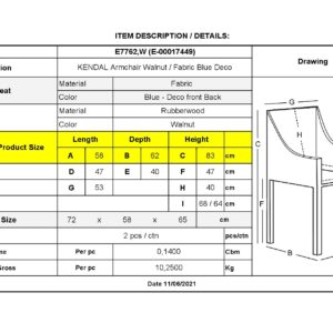 KENDAL Καρέκλα Τραπεζαρίας Καρυδί - Ύφασμα Μπλε Deco